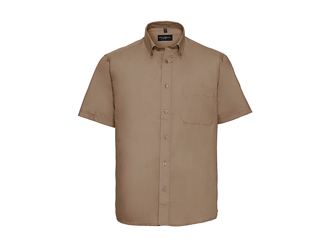 Russell Europe Short Sleeve Classic Twill Shirt, Khaki, L bedrucken, Art.-Nr. 777007313