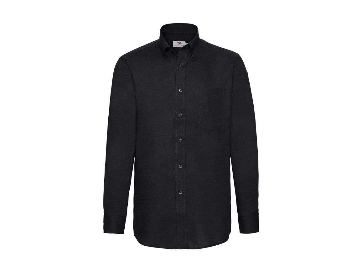 Fruit of the Loom Oxford Shirt LS, Black, L bedrucken, Art.-Nr. 778011015