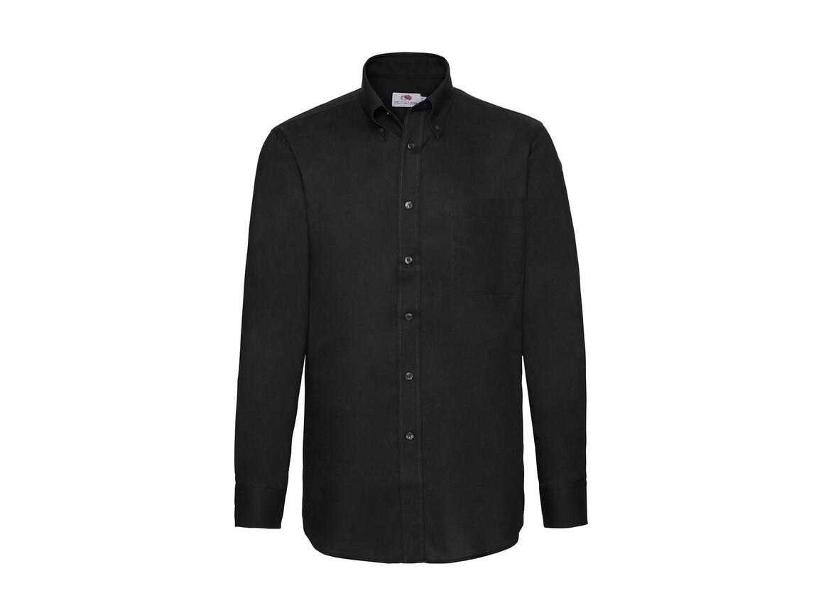 Fruit of the Loom Oxford Shirt LS, Black, 3XL bedrucken, Art.-Nr. 778011018