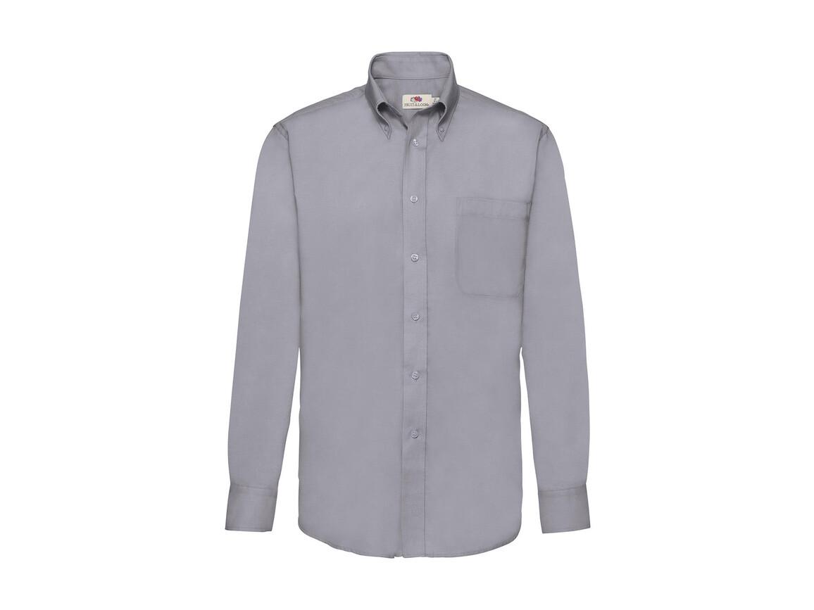 Fruit of the Loom Oxford Shirt LS, Oxford Grey, M bedrucken, Art.-Nr. 778011144