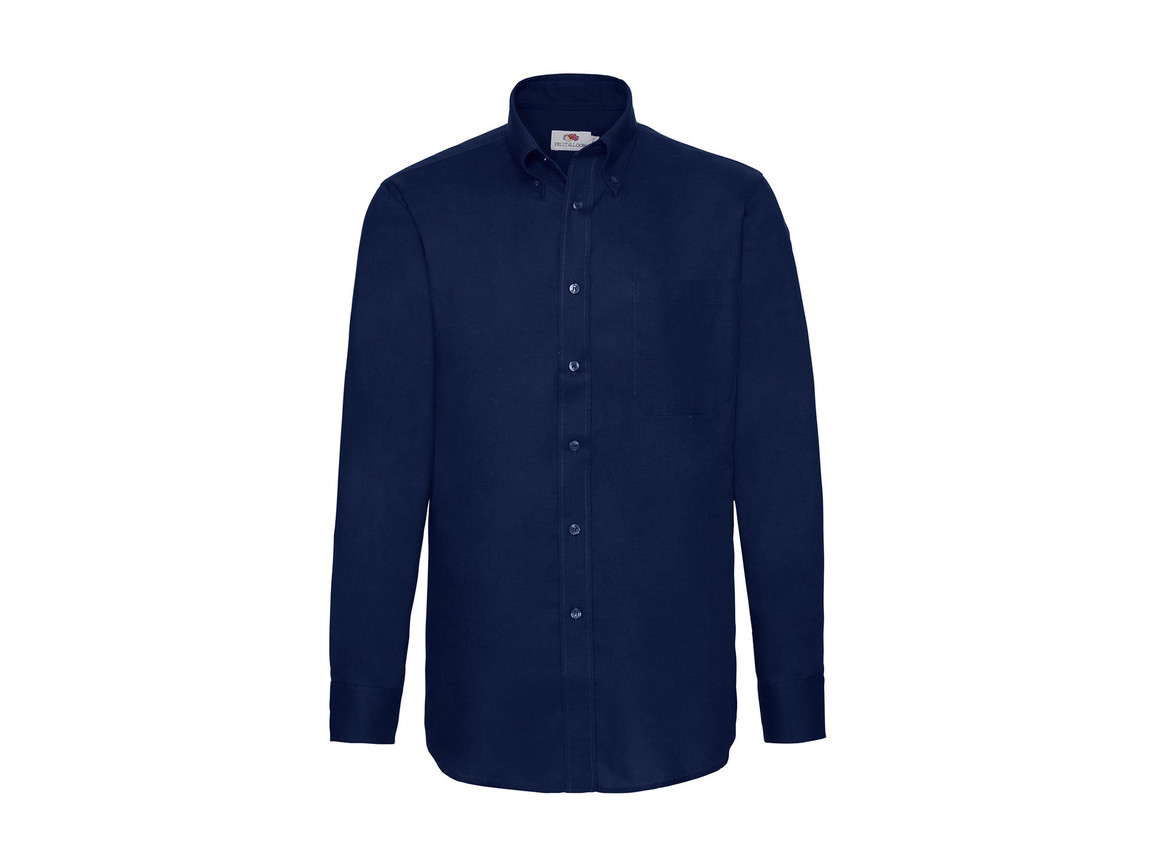 Fruit of the Loom Oxford Shirt LS, Navy, XL bedrucken, Art.-Nr. 778012006