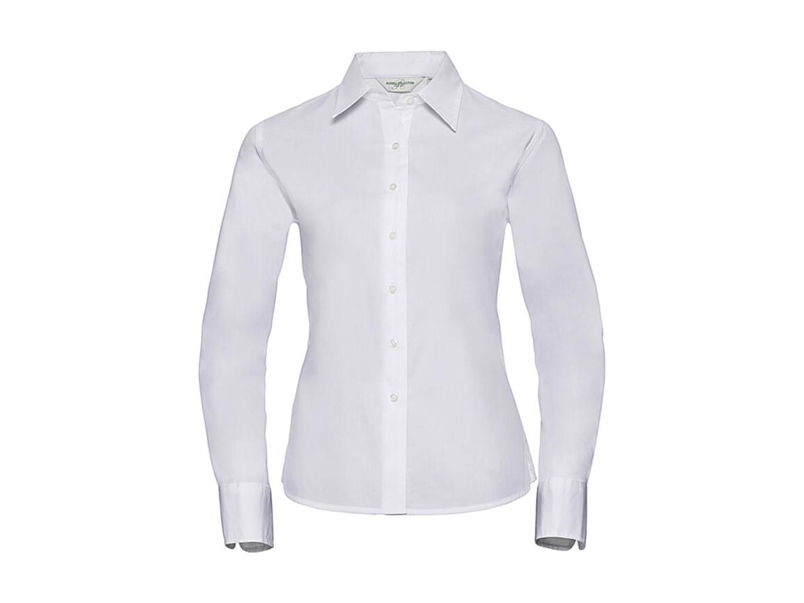 Russell Europe Ladies` Classic Twill Shirt LS, White, L (40) bedrucken, Art.-Nr. 779000005