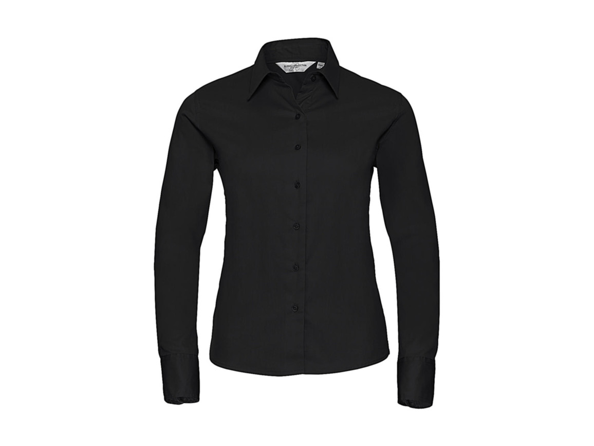 Russell Europe Ladies` Classic Twill Shirt LS, Black, 2XL (44) bedrucken, Art.-Nr. 779001017