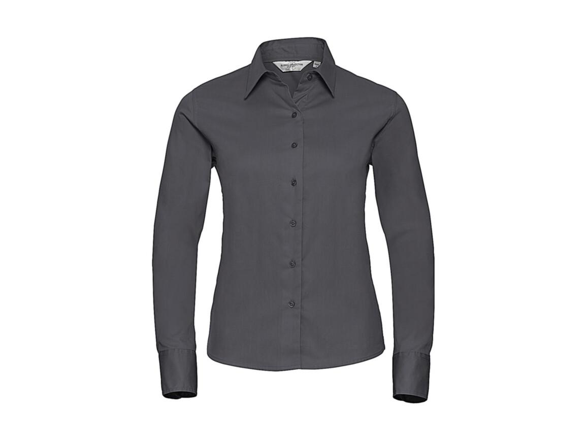 Russell Europe Ladies` Classic Twill Shirt LS, Zinc, S (36) bedrucken, Art.-Nr. 779001123