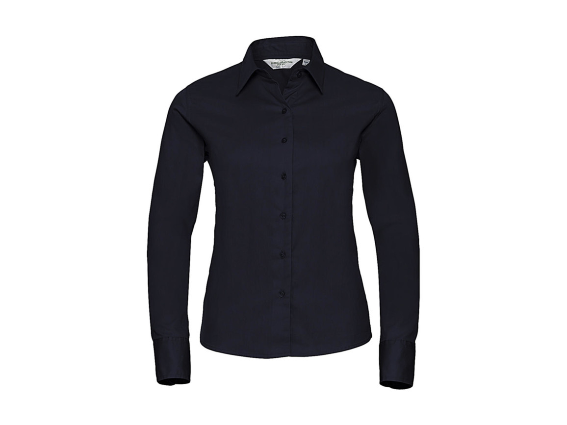 Russell Europe Ladies` Classic Twill Shirt LS, French Navy, S (36) bedrucken, Art.-Nr. 779002013