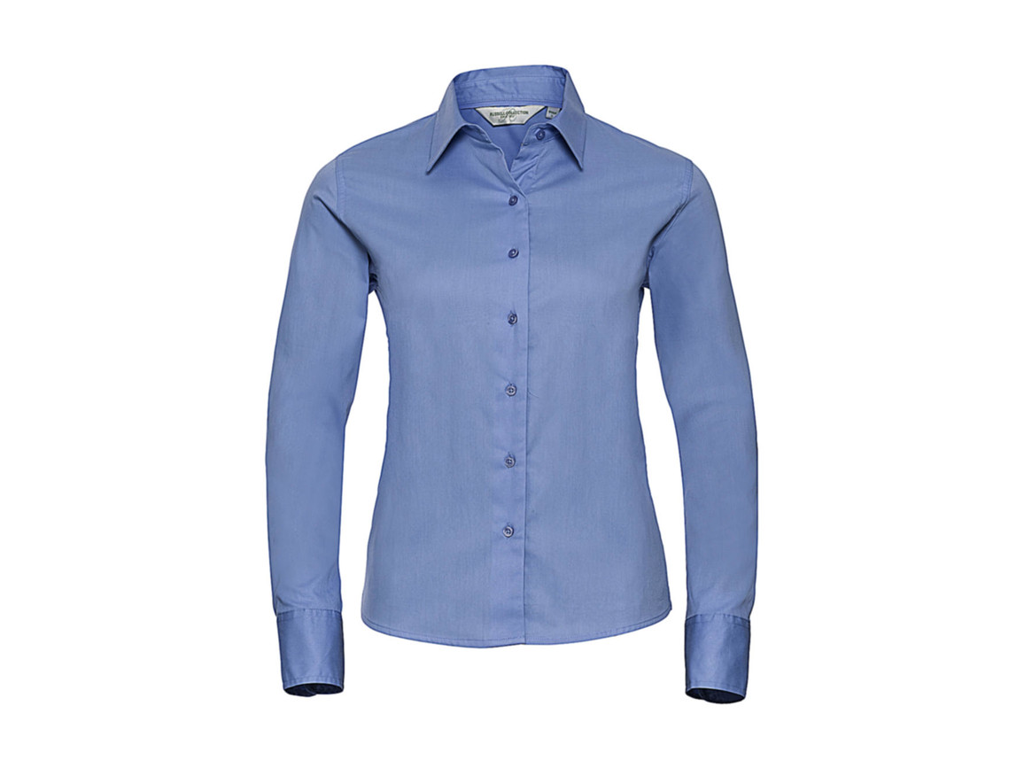 Russell Europe Ladies` Classic Twill Shirt LS, Blue, M (38) bedrucken, Art.-Nr. 779003014