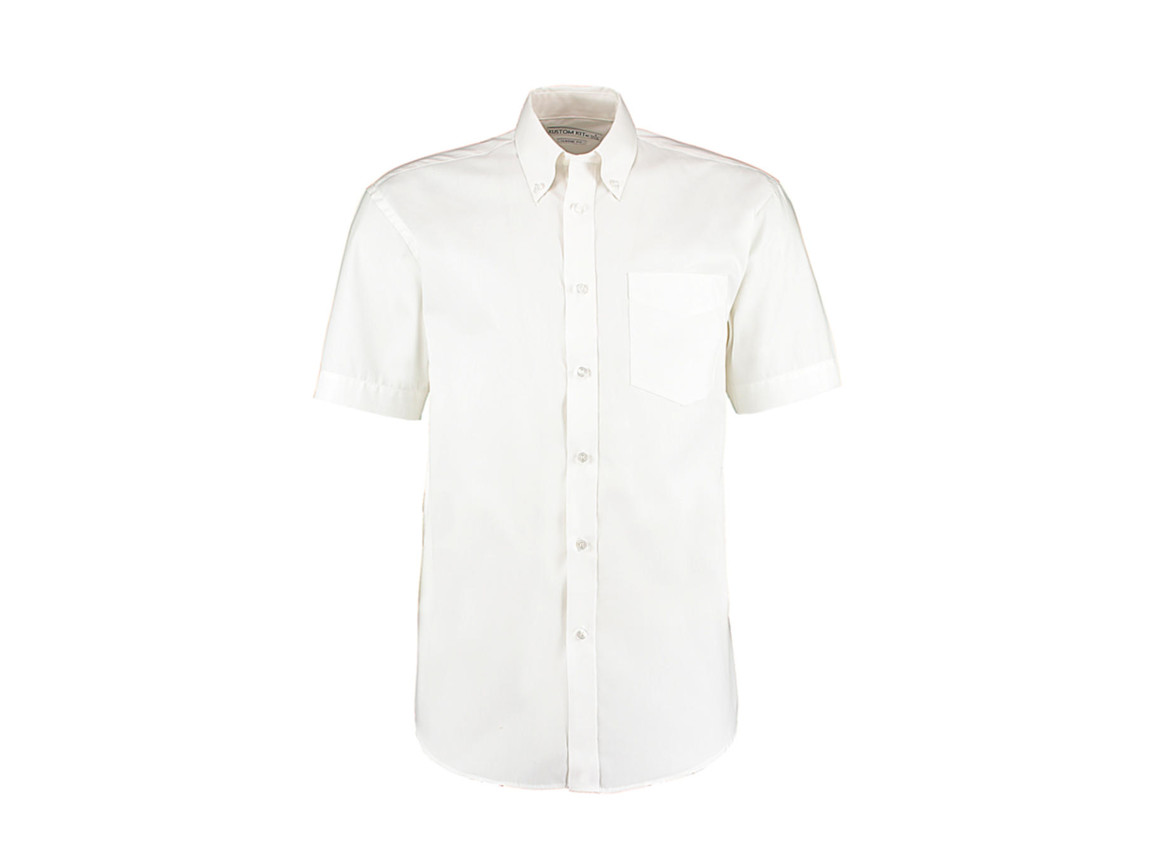 Kustom Kit Classic Fit Premium Oxford Shirt SSL, White, L bedrucken, Art.-Nr. 784110005