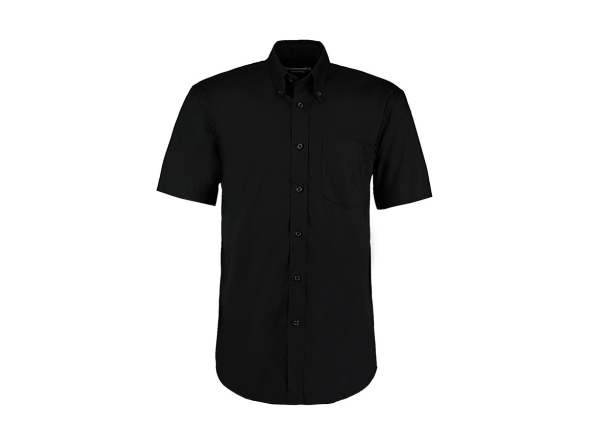 Kustom Kit Classic Fit Premium Oxford Shirt SSL, Black, M bedrucken, Art.-Nr. 784111013