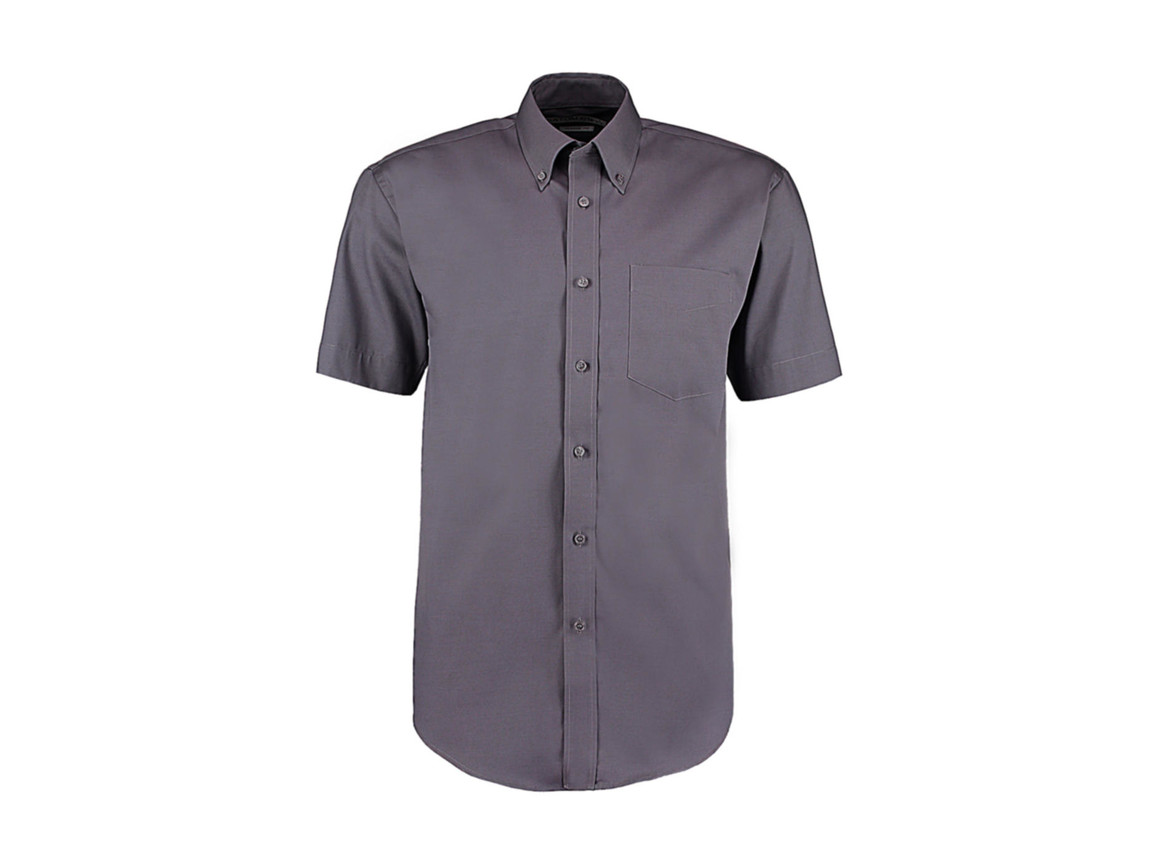 Kustom Kit Classic Fit Premium Oxford Shirt SSL, Charcoal, M bedrucken, Art.-Nr. 784111303