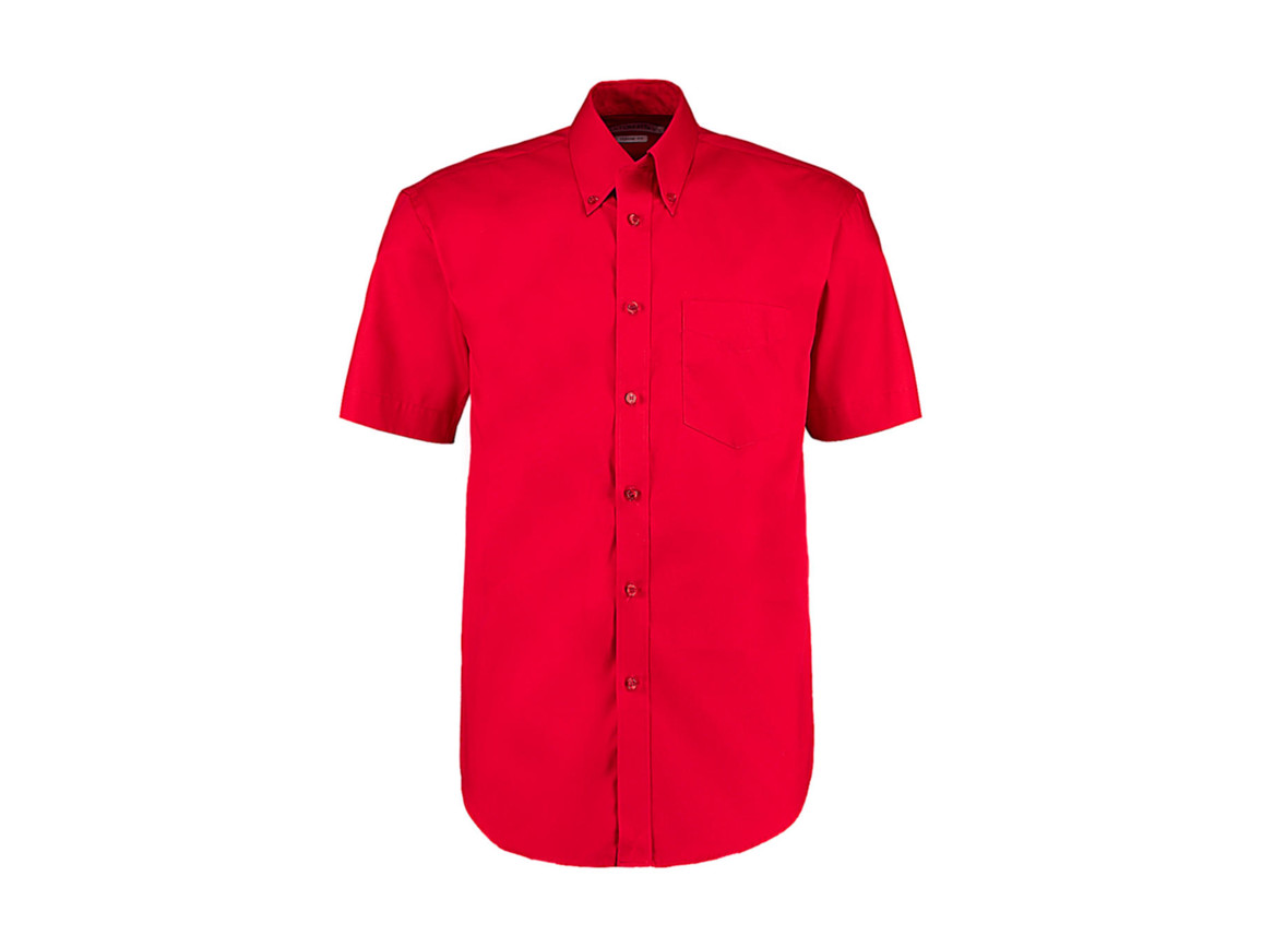 Kustom Kit Classic Fit Premium Oxford Shirt SSL, Red, M bedrucken, Art.-Nr. 784114003