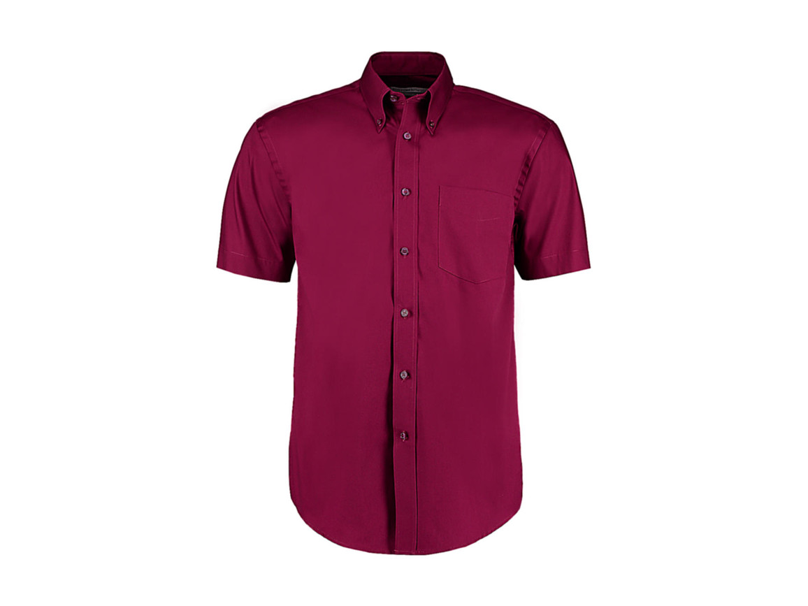 Kustom Kit Classic Fit Premium Oxford Shirt SSL, Burgundy, 2XL bedrucken, Art.-Nr. 784114489