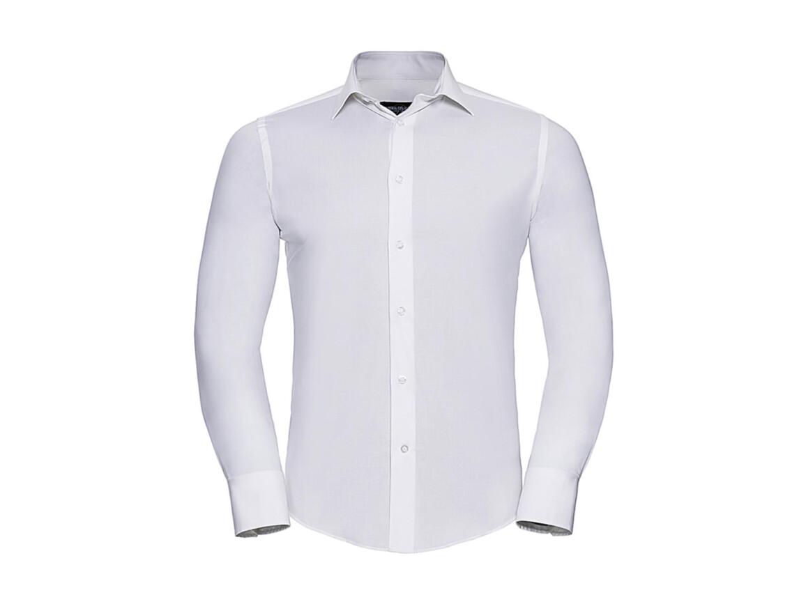 Russell Europe Fitted Stretch Shirt LS, White, L bedrucken, Art.-Nr. 786000005