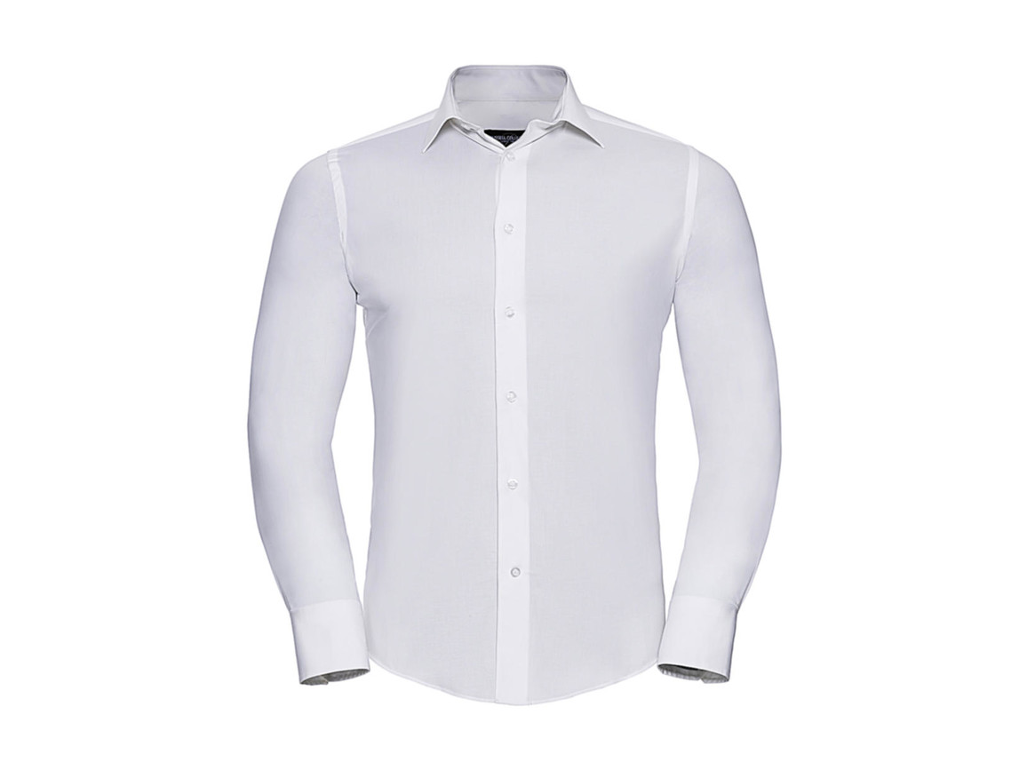 Russell Europe Fitted Stretch Shirt LS, White, M bedrucken, Art.-Nr. 786000004