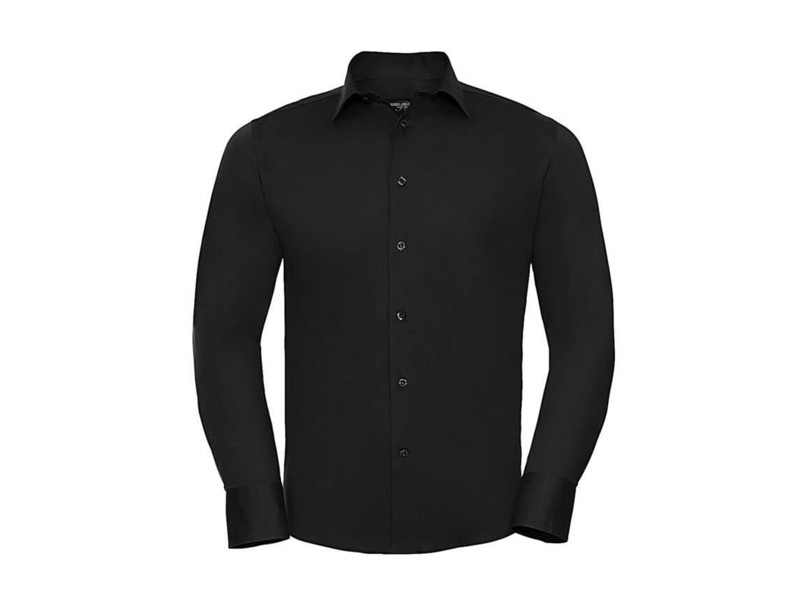 Russell Europe Fitted Stretch Shirt LS, Black, S bedrucken, Art.-Nr. 786001013