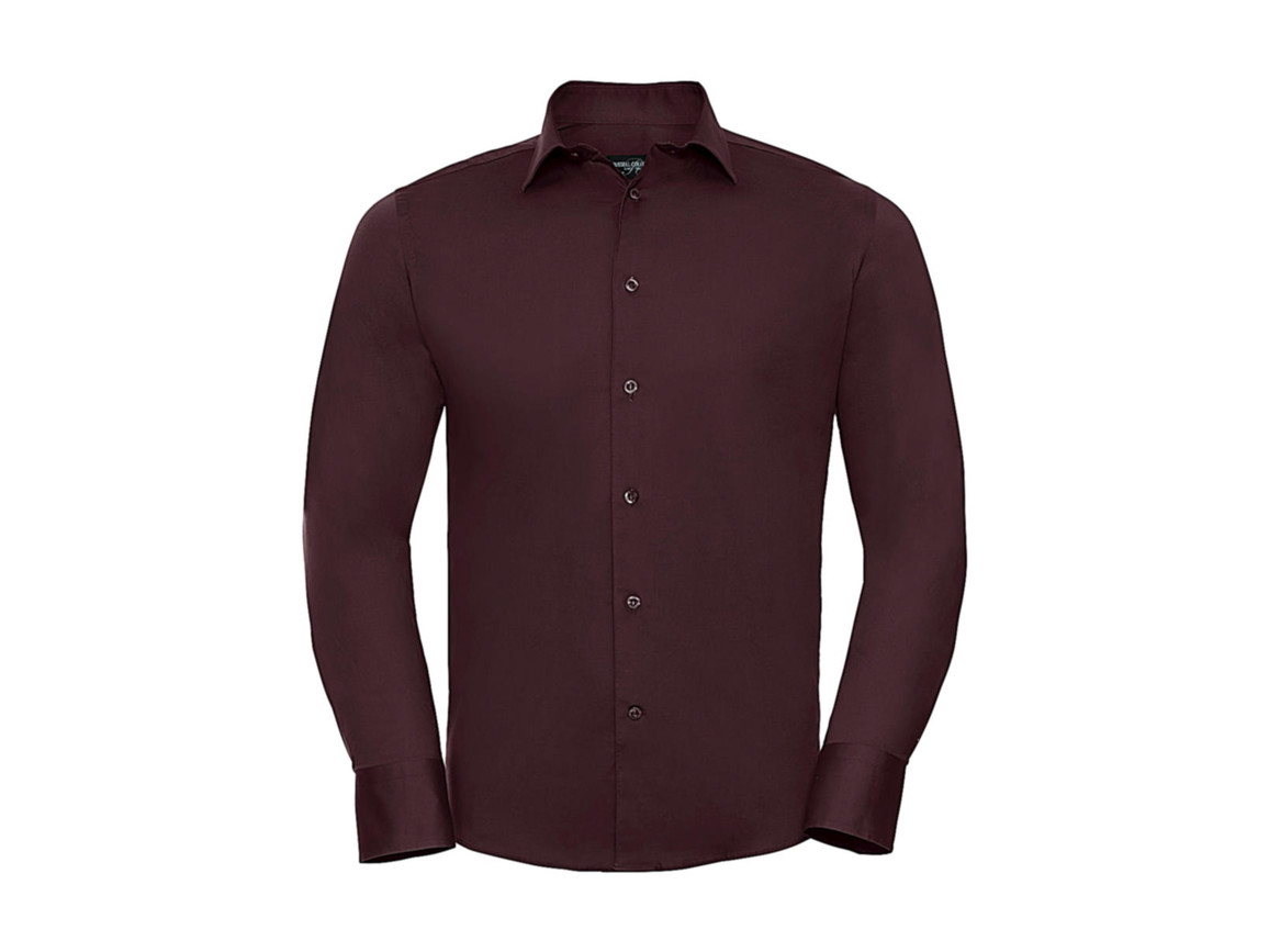 Russell Europe Fitted Stretch Shirt LS, Port, M bedrucken, Art.-Nr. 786004494