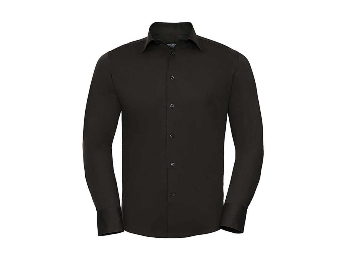 Russell Europe Fitted Stretch Shirt LS, Chocolate, M bedrucken, Art.-Nr. 786007014
