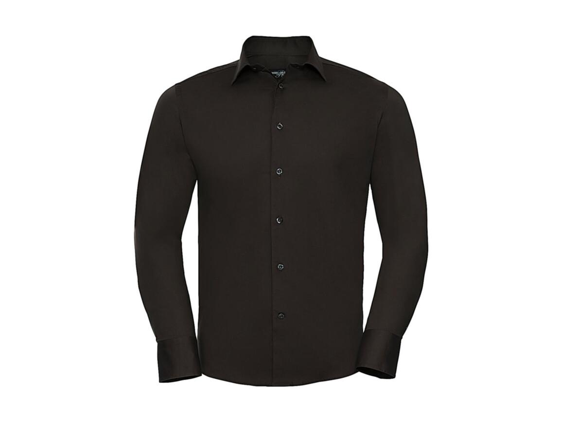 Russell Europe Fitted Stretch Shirt LS, Chocolate, 4XL bedrucken, Art.-Nr. 786007019