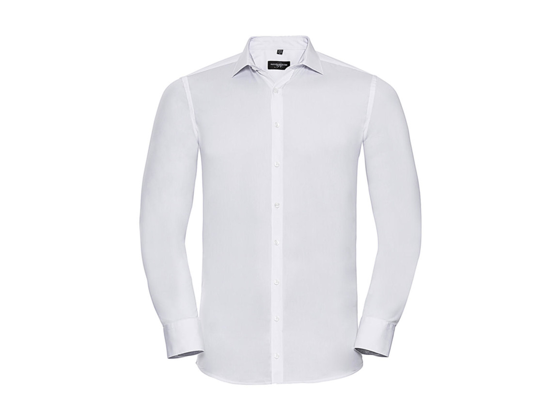 Russell Europe Men`s LS Ultimate Stretch Shirt, White, L bedrucken, Art.-Nr. 788000005