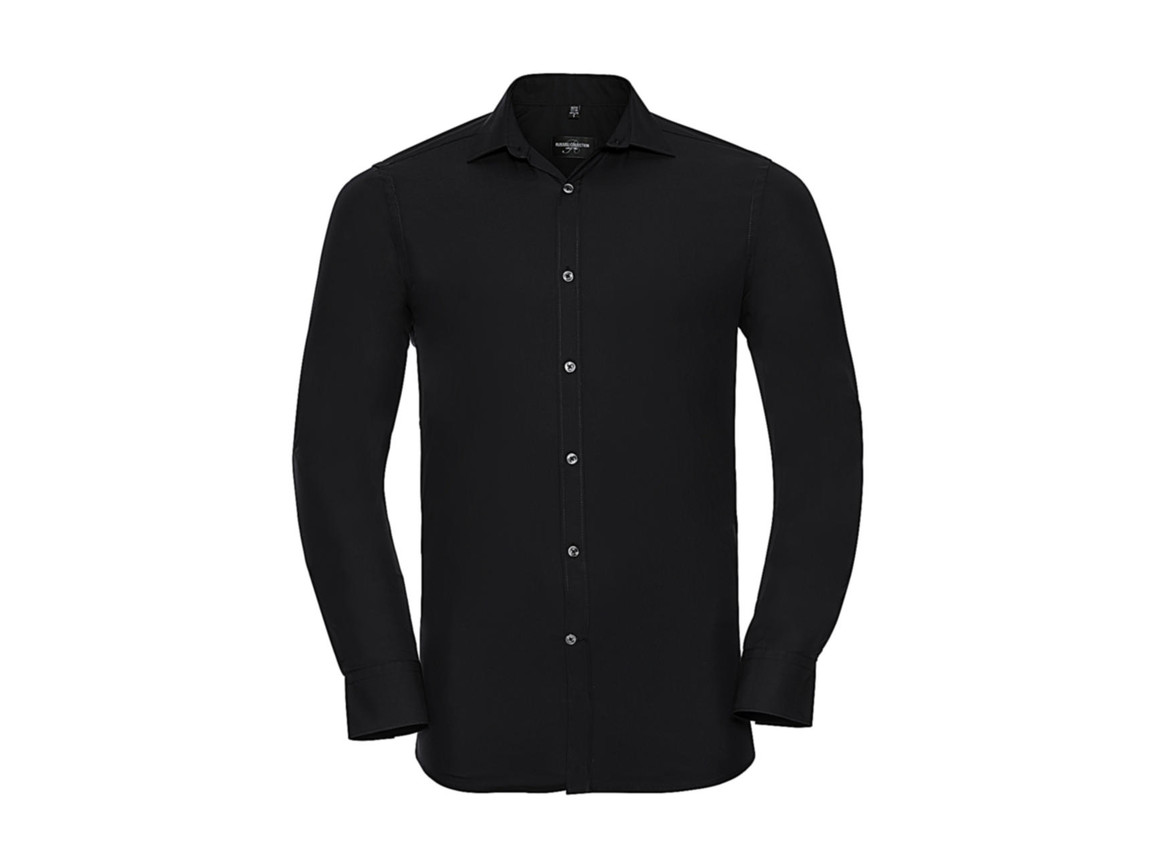 Russell Europe Men`s LS Ultimate Stretch Shirt, Black, XL bedrucken, Art.-Nr. 788001016