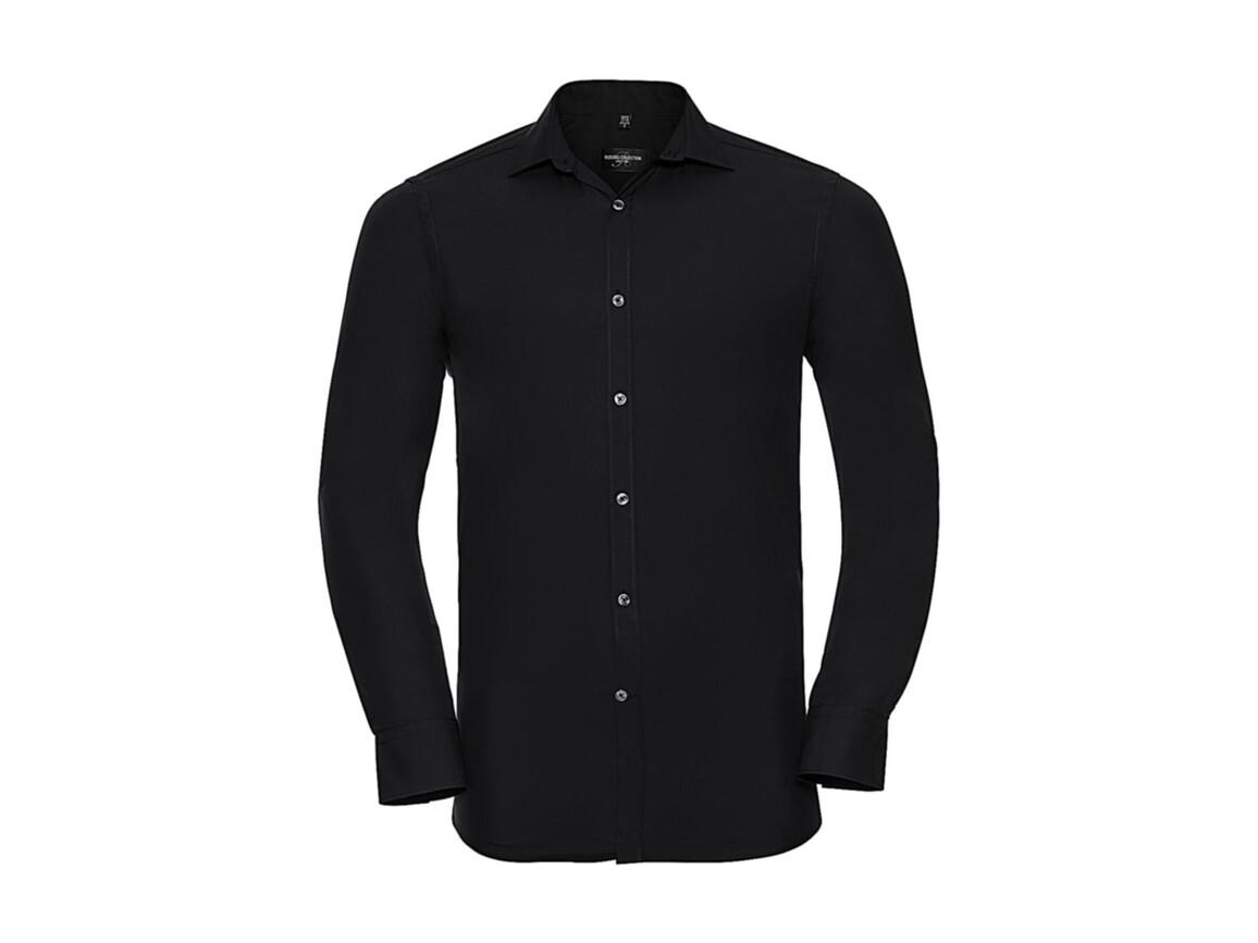 Russell Europe Men`s LS Ultimate Stretch Shirt, Black, XL bedrucken, Art.-Nr. 788001016