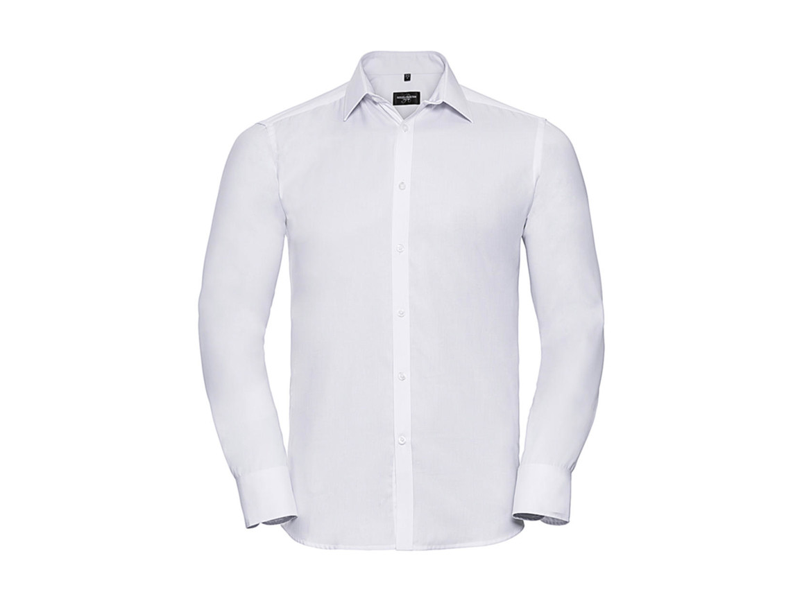 "Russell Europe Men`s LS Herringbone Shirt, White, M (15.5"") bedrucken, Art.-Nr. 789000004"