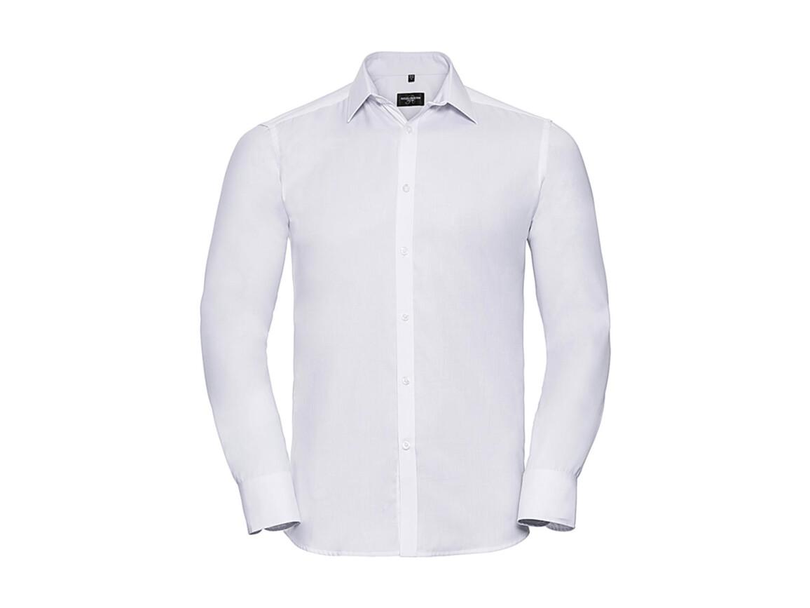 "Russell Europe Men`s LS Herringbone Shirt, White, S (15"") bedrucken, Art.-Nr. 789000003"
