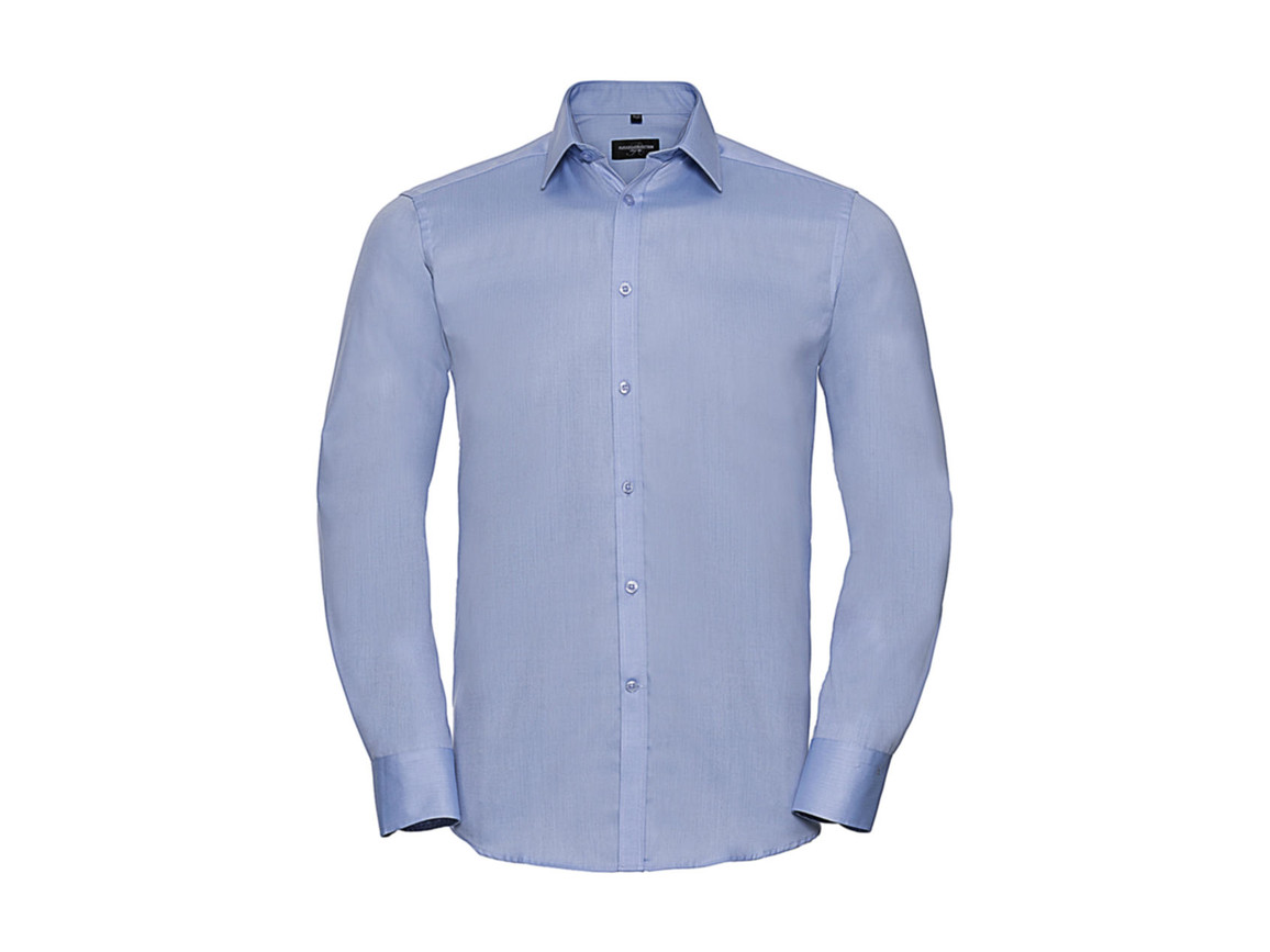 "Russell Europe Men`s LS Herringbone Shirt, Light Blue, 3XL (19"") bedrucken, Art.-Nr. 789003218"