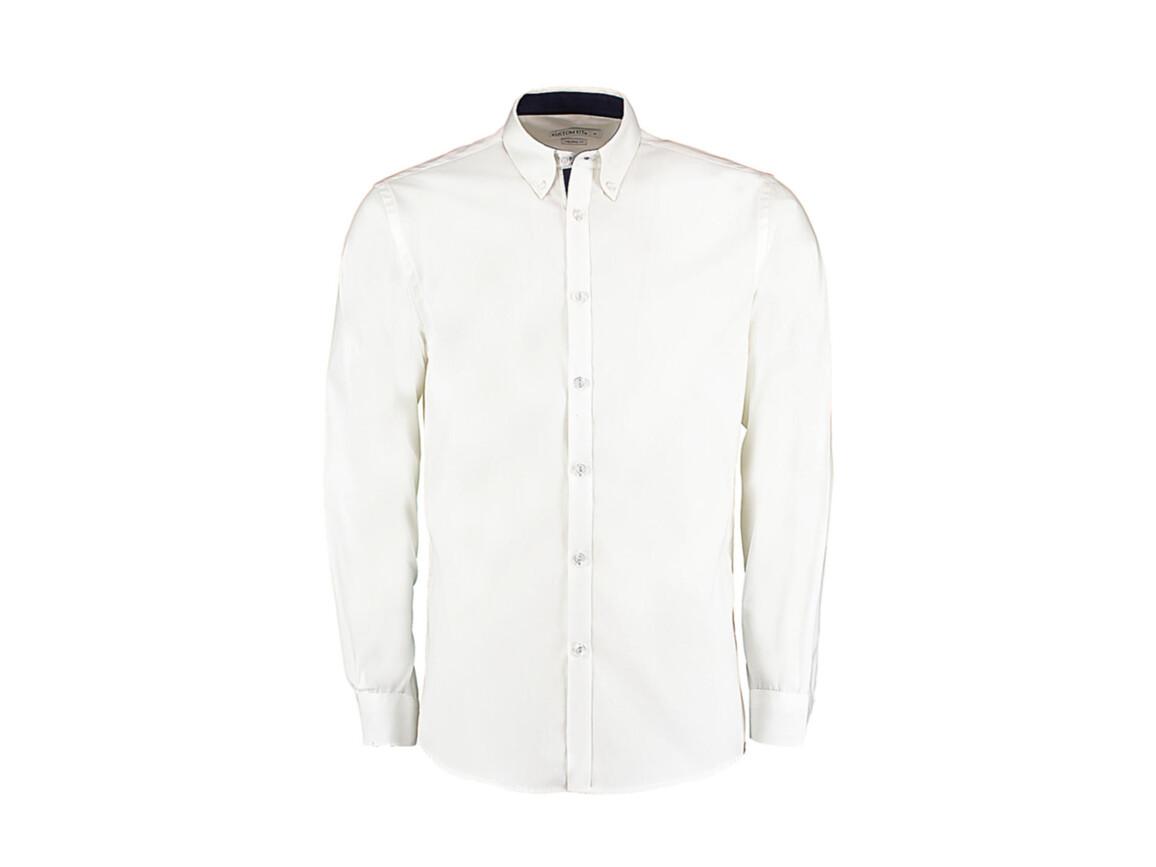 Kustom Kit Tailored Fit Premium Contrast Oxford Shirt, White/Navy, M bedrucken, Art.-Nr. 790110524