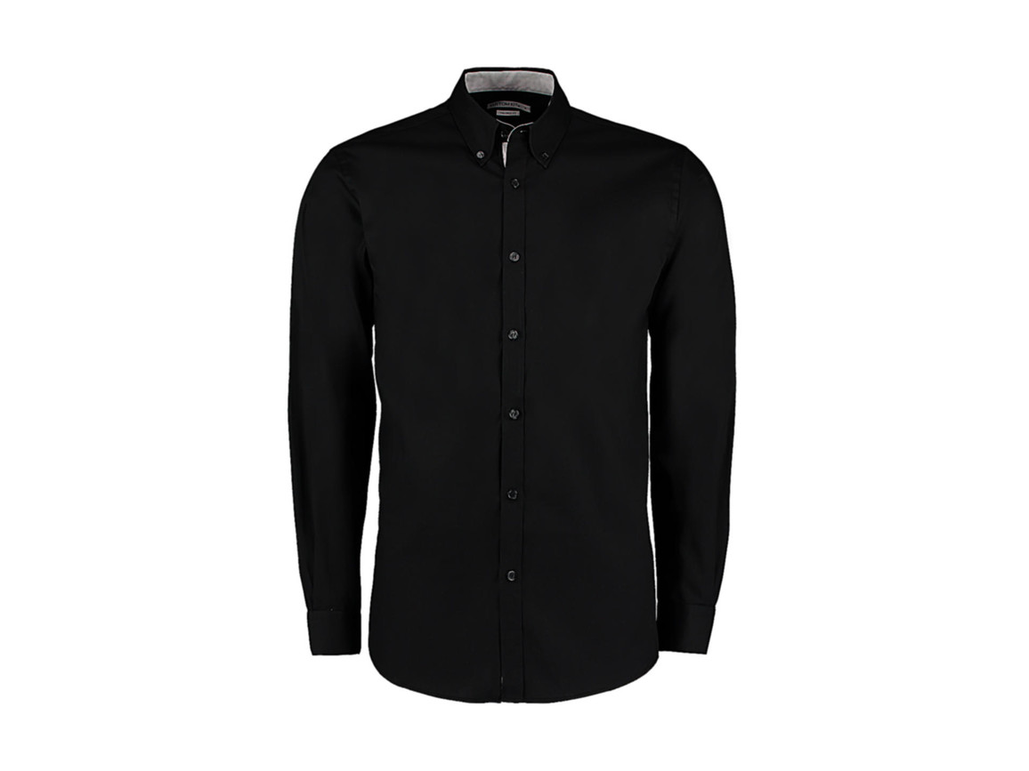 Kustom Kit Tailored Fit Premium Contrast Oxford Shirt, Black/Silver, L bedrucken, Art.-Nr. 790111765