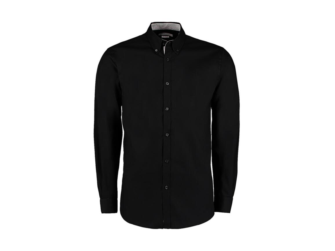 Kustom Kit Tailored Fit Premium Contrast Oxford Shirt, Black/Silver, L bedrucken, Art.-Nr. 790111765