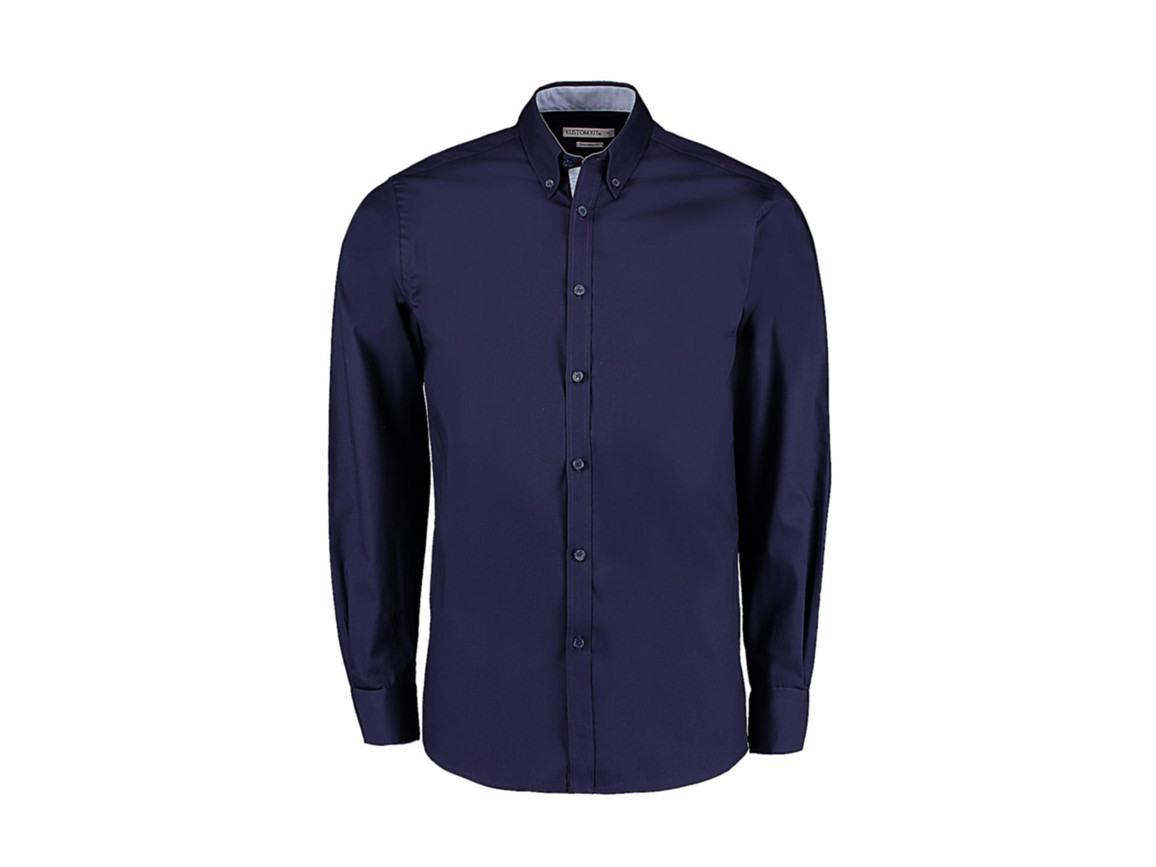 Kustom Kit Tailored Fit Premium Contrast Oxford Shirt, Navy/Light Blue, L bedrucken, Art.-Nr. 790112415