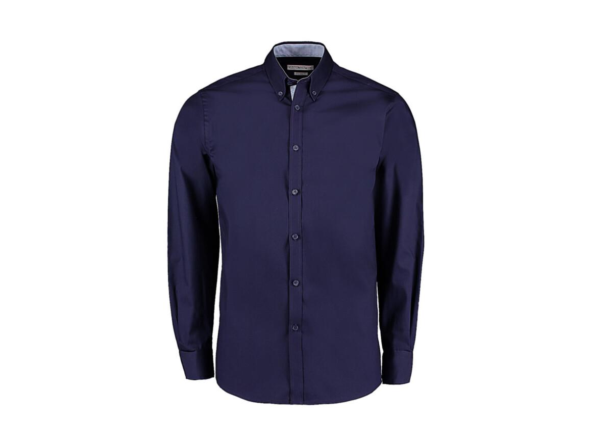 Kustom Kit Tailored Fit Premium Contrast Oxford Shirt, Navy/Light Blue, XL bedrucken, Art.-Nr. 790112416