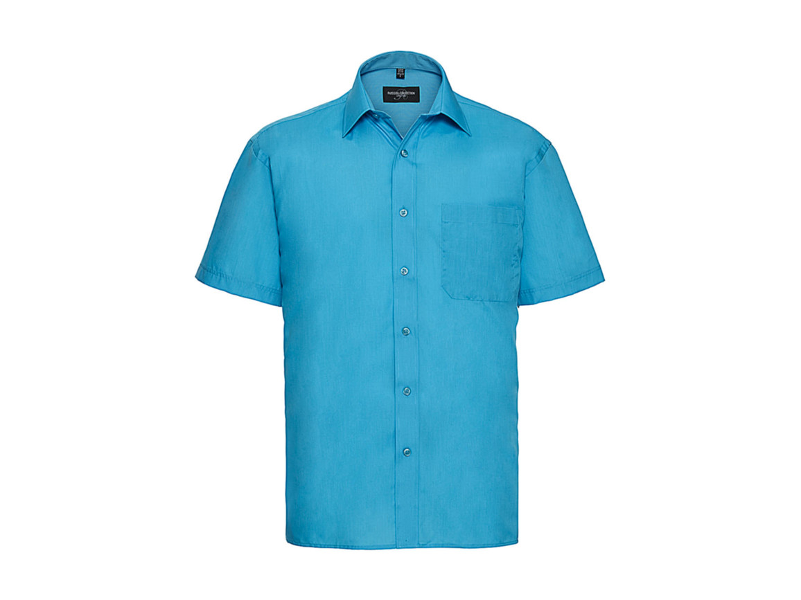 Russell Europe Poplin Shirt, Turquoise, 2XL bedrucken, Art.-Nr. 792005367