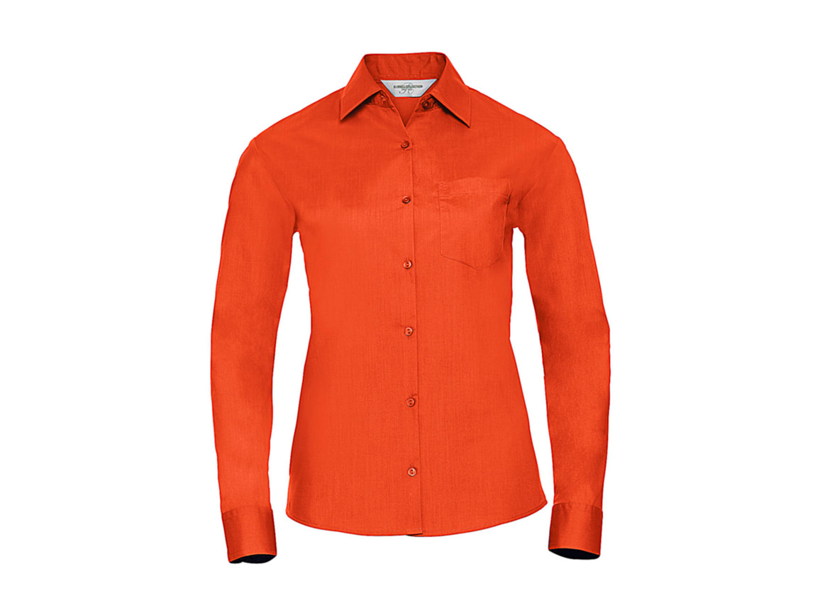 Russell Europe Poplin Blouse LS, Orange, 2XL (44) bedrucken, Art.-Nr. 795004107
