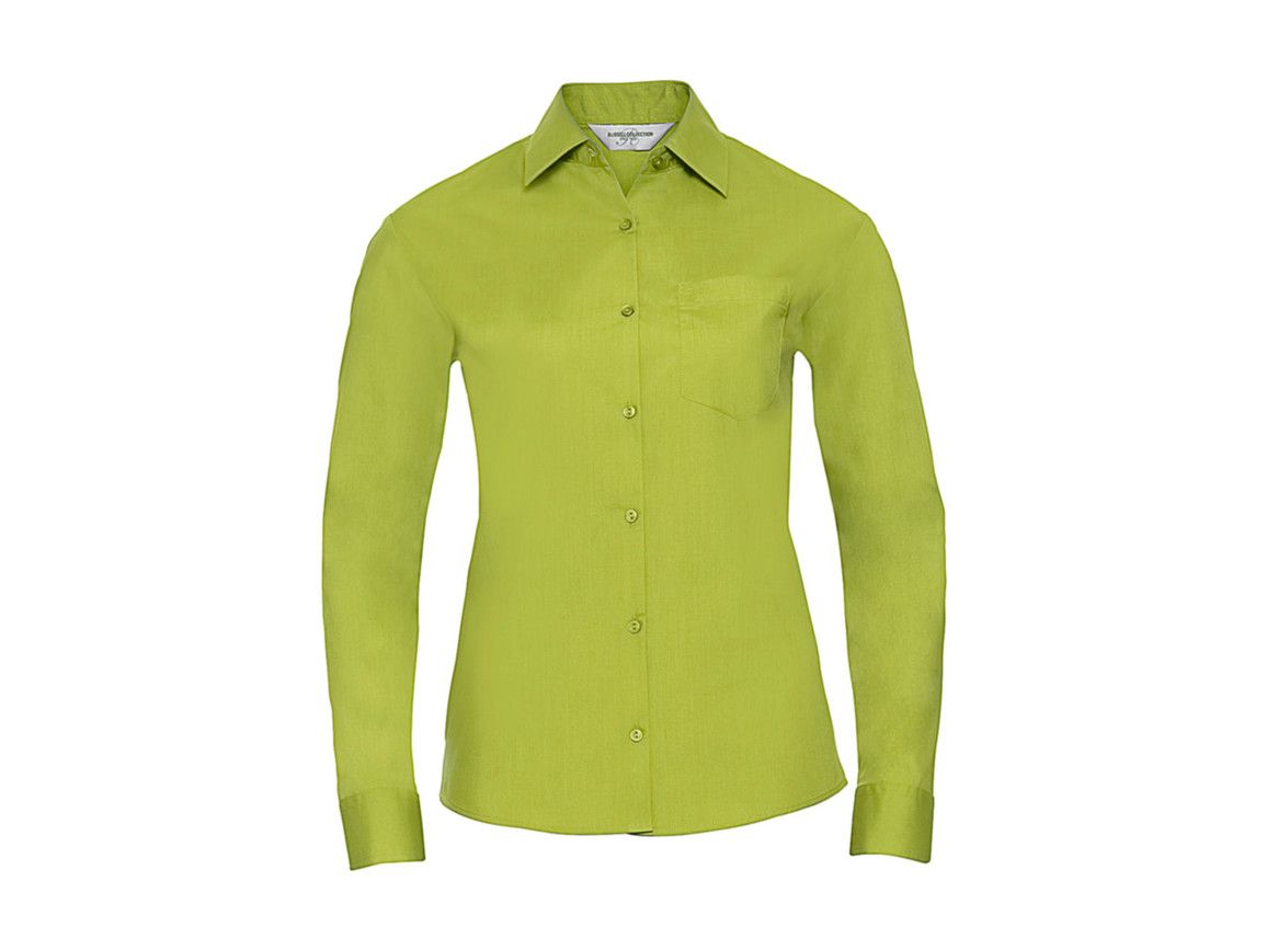Russell Europe Poplin Blouse LS, Lime, 2XL (44) bedrucken, Art.-Nr. 795005217