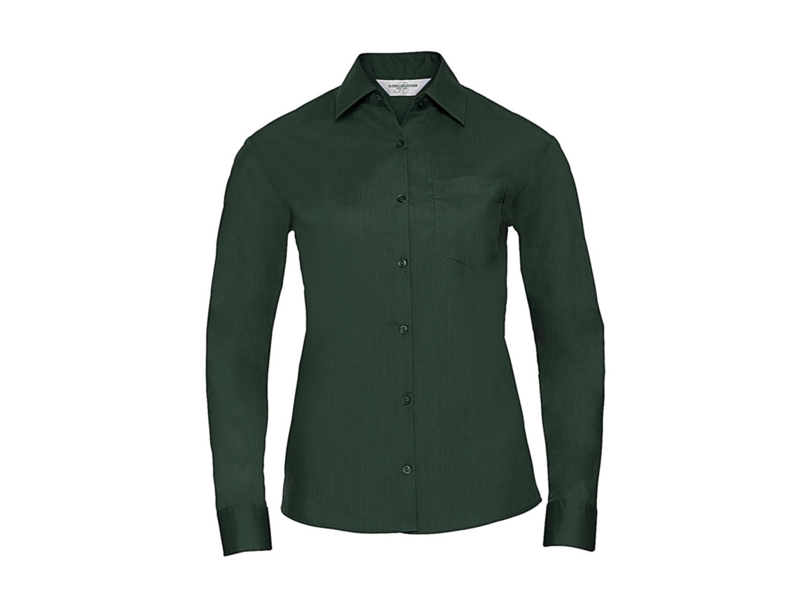 Russell Europe Poplin Blouse LS, Bottle Green, XS (34) bedrucken, Art.-Nr. 795005402