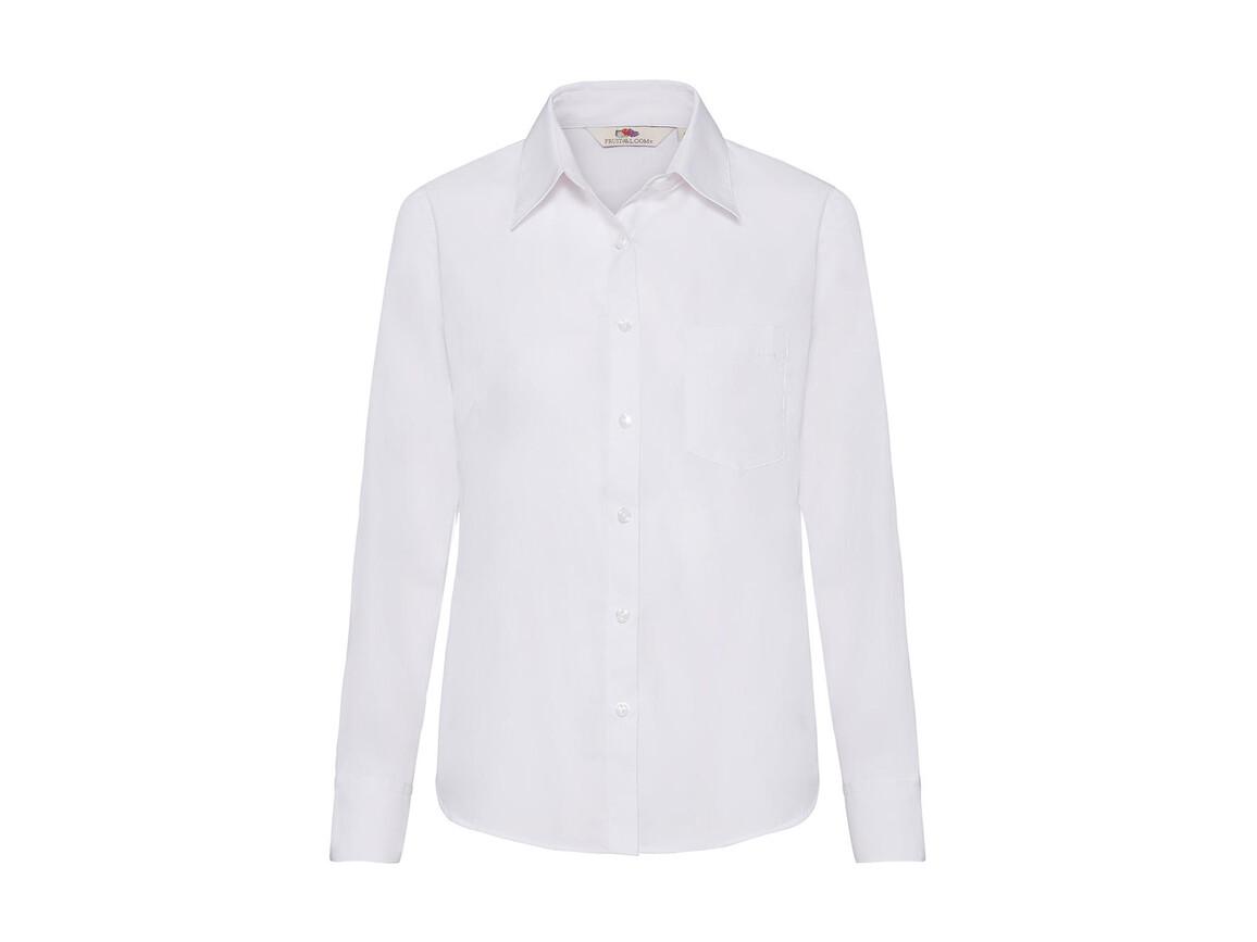 Fruit of the Loom Ladies` Poplin Shirt LS, White, 3XL bedrucken, Art.-Nr. 795010008