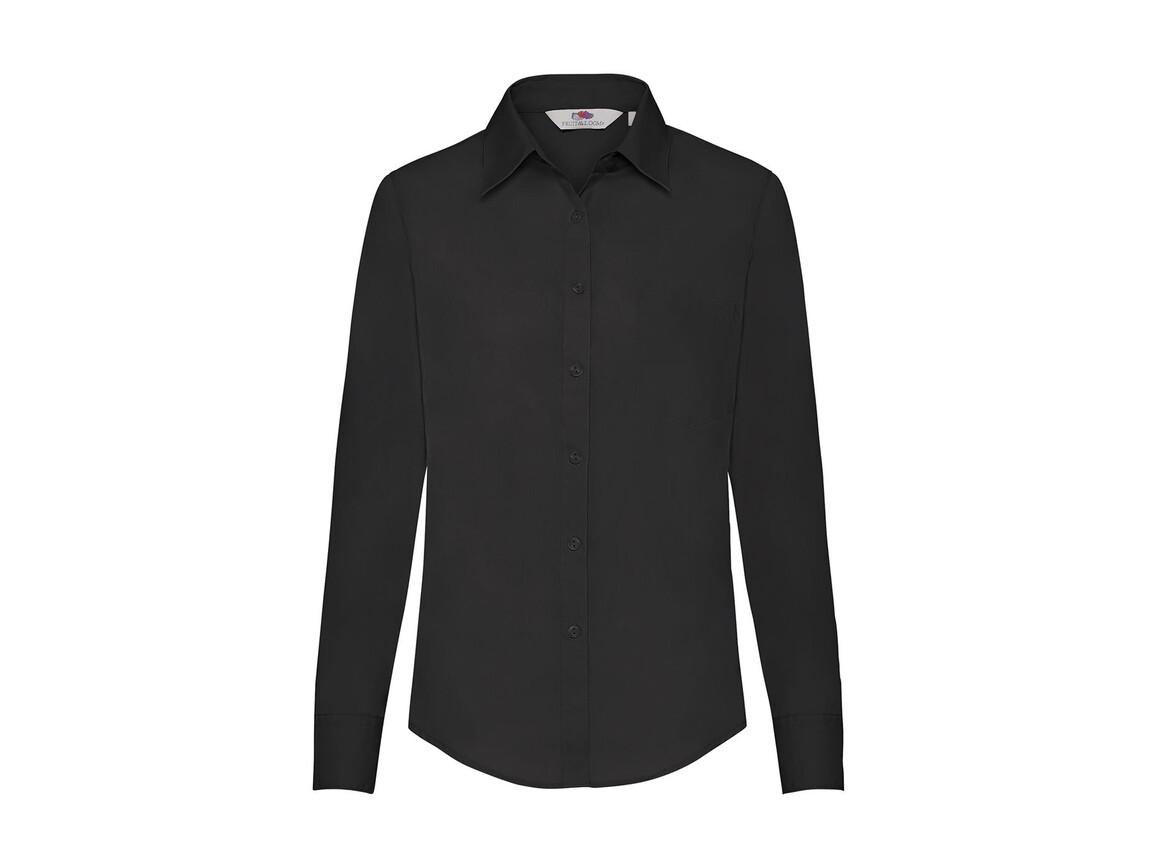 Fruit of the Loom Ladies` Poplin Shirt LS, Black, 3XL bedrucken, Art.-Nr. 795011018