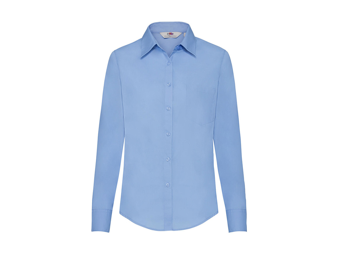 Fruit of the Loom Ladies` Poplin Shirt LS, Mid Blue, XL bedrucken, Art.-Nr. 795013376