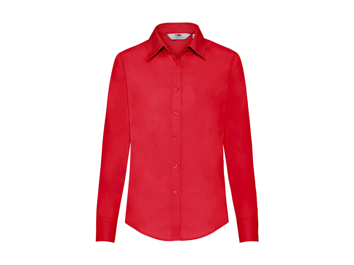 Fruit of the Loom Ladies` Poplin Shirt LS, Red, XS bedrucken, Art.-Nr. 795014002