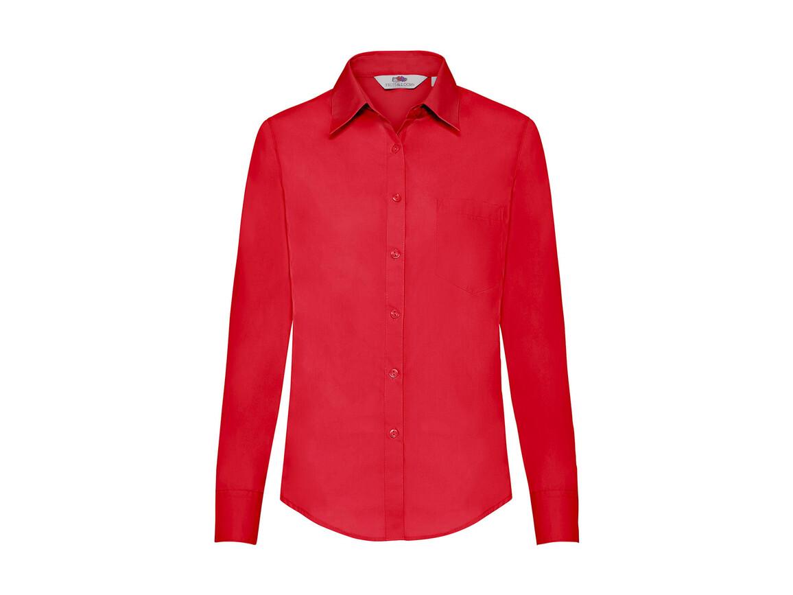 Fruit of the Loom Ladies` Poplin Shirt LS, Red, S bedrucken, Art.-Nr. 795014003