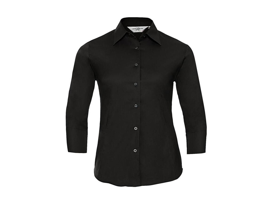 Russell Europe Ladies` 3/4 Sleeve Easy Care Fitted Shirt, Black, S bedrucken, Art.-Nr. 796001013