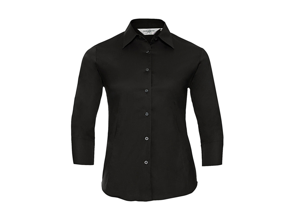 Russell Europe Ladies` 3/4 Sleeve Easy Care Fitted Shirt, Black, M bedrucken, Art.-Nr. 796001014