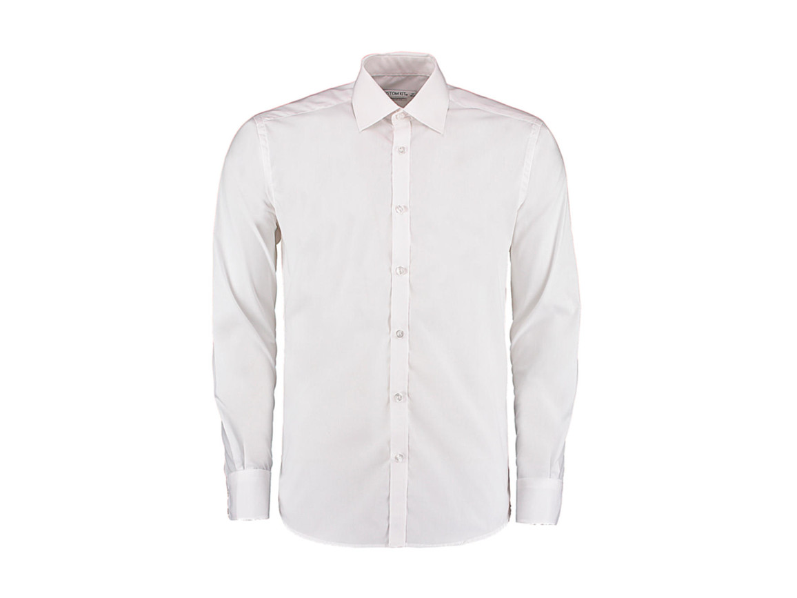 Kustom Kit Slim Fit Business Shirt LS, White, S bedrucken, Art.-Nr. 798110001
