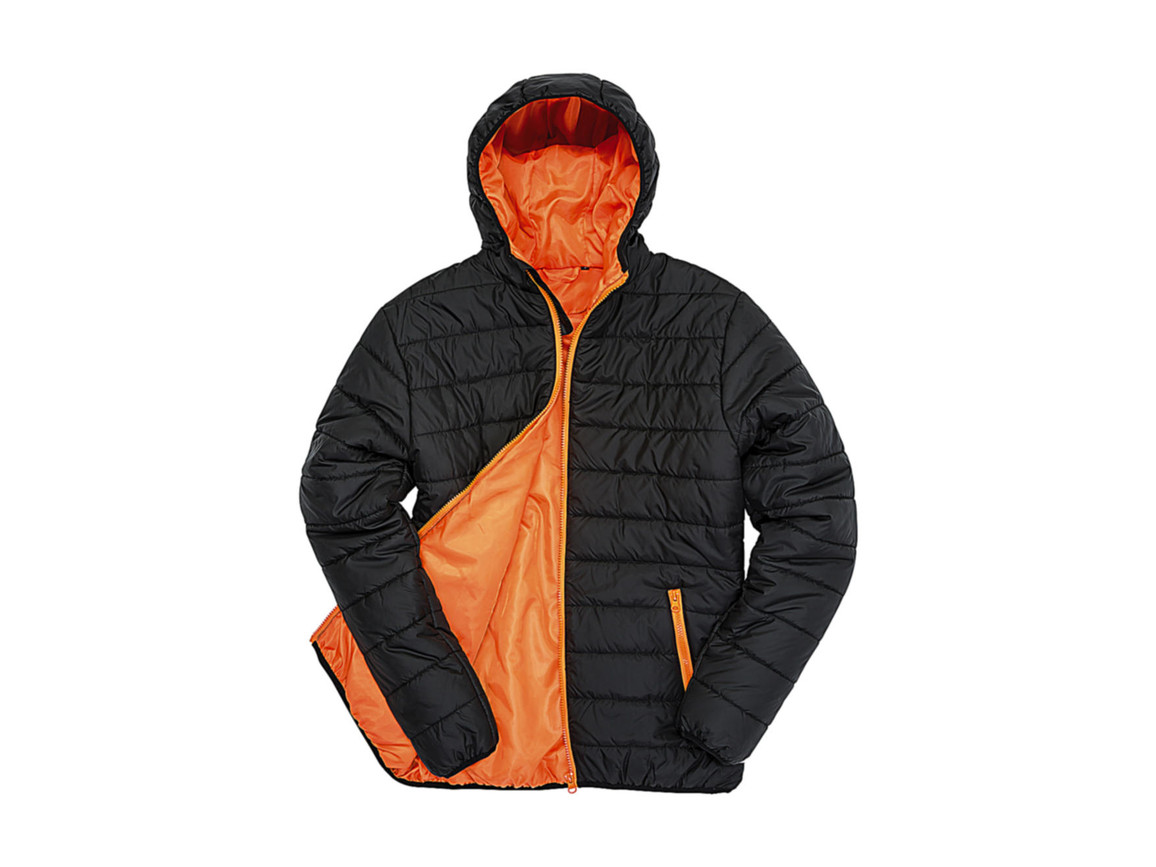 Result Soft Padded Jacket, Black/Orange, 2XL bedrucken, Art.-Nr. 872331787
