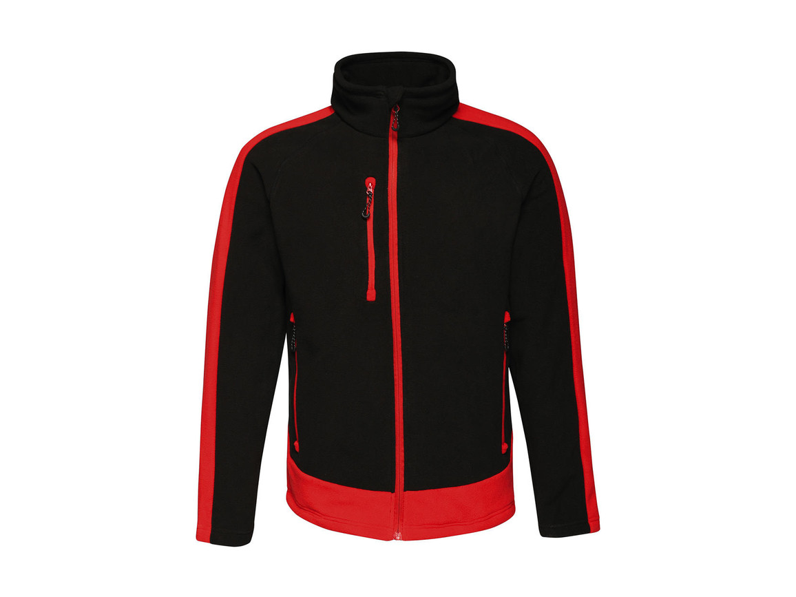 Regatta Contrast 300G Fleece, Black/Classic Red, 2XL bedrucken, Art.-Nr. 874171577