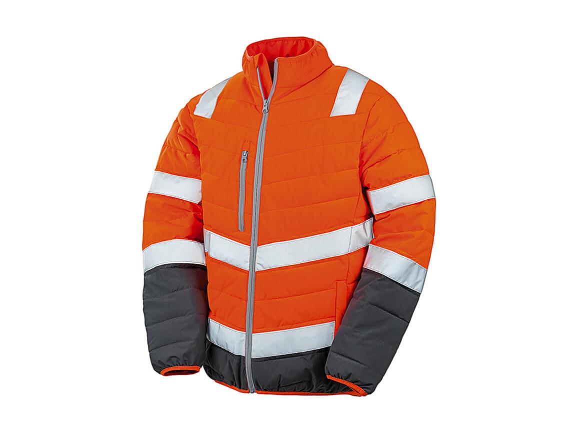 Result Soft Padded Safety Jacket, Fluo Orange/Grey, XL bedrucken, Art.-Nr. 876334756