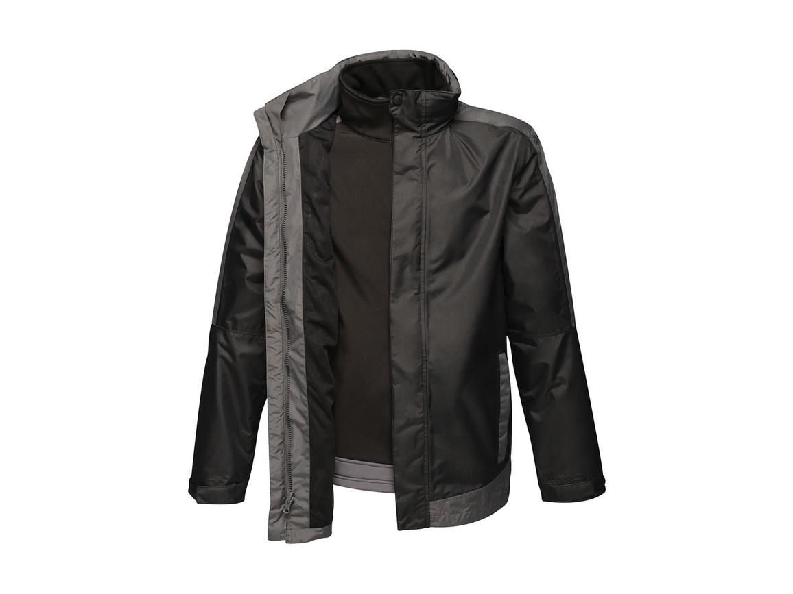 Regatta Contrast Softshell 3-in-1 Jacket, Black/Seal Grey, 3XL bedrucken, Art.-Nr. 882171518