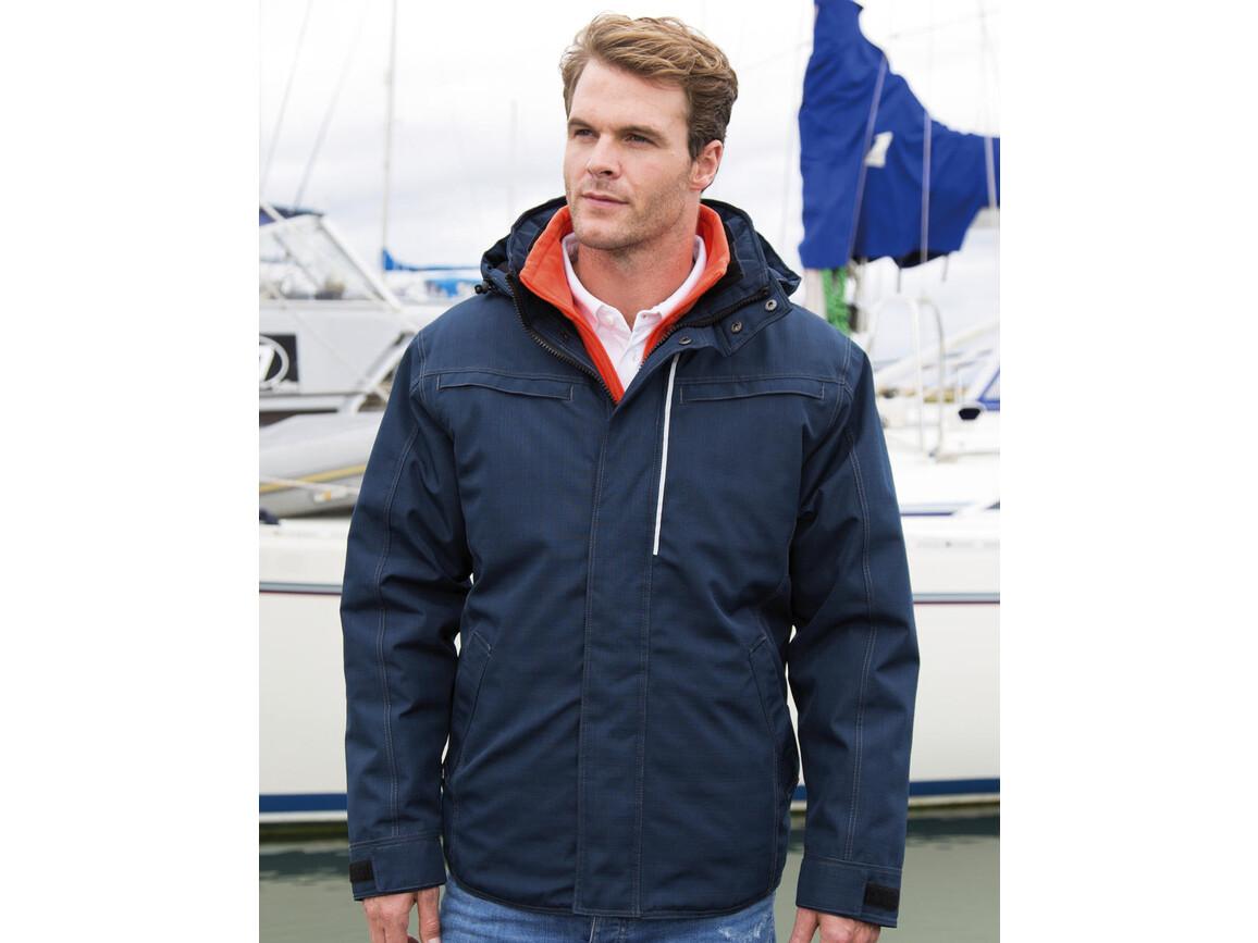 Result Denim Texture Rugged Jacket, Navy, 3XL bedrucken, Art.-Nr. 898332008