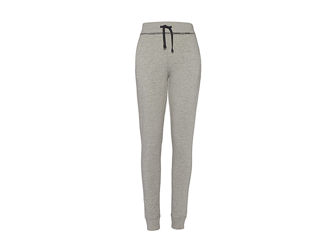 nakedshirt Alexia Women`s Sweatpants, Warm Grey Melange/Charcoal, XS bedrucken, Art.-Nr. 901851622